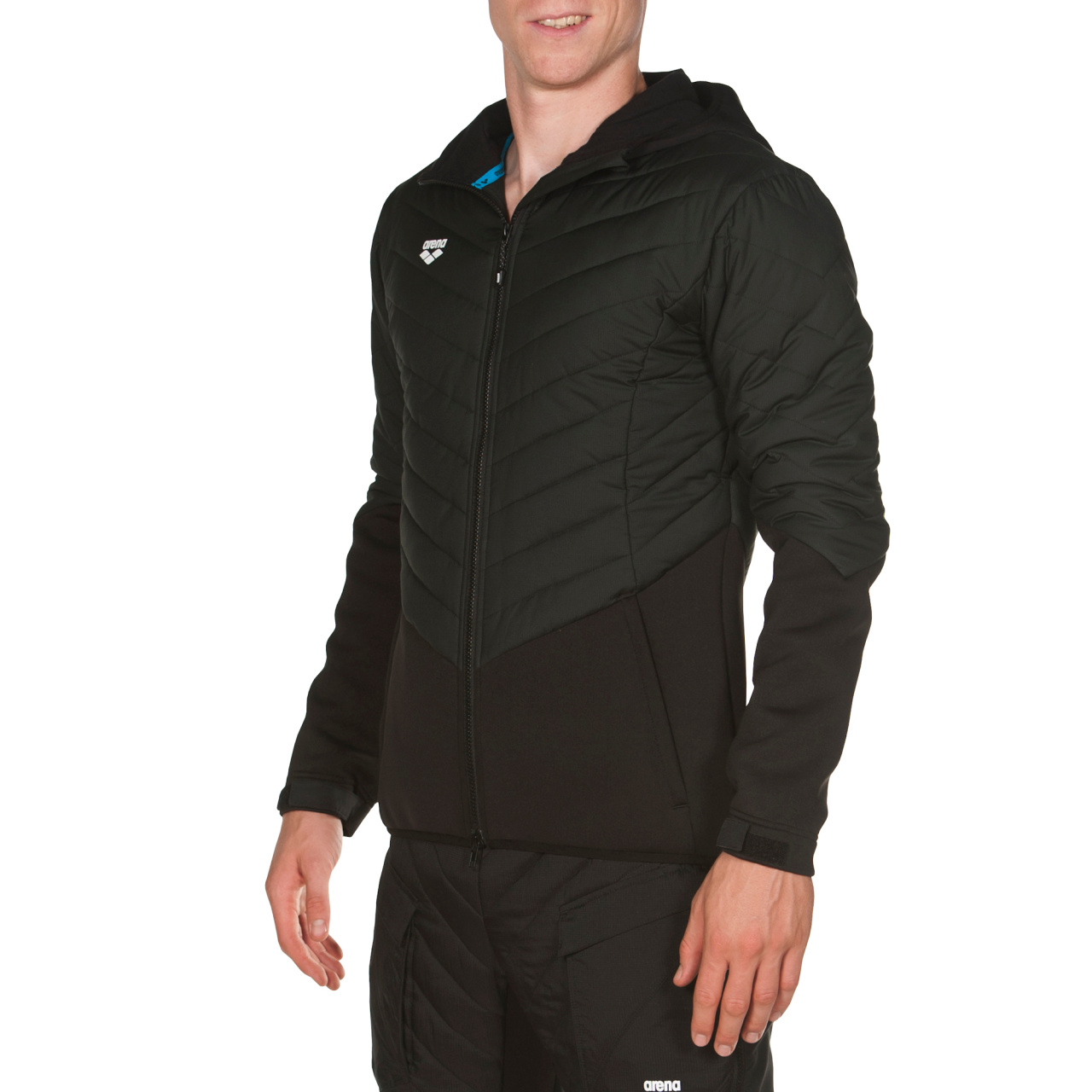 Hooded F Z Half Quilted Jacket a09f9fea38